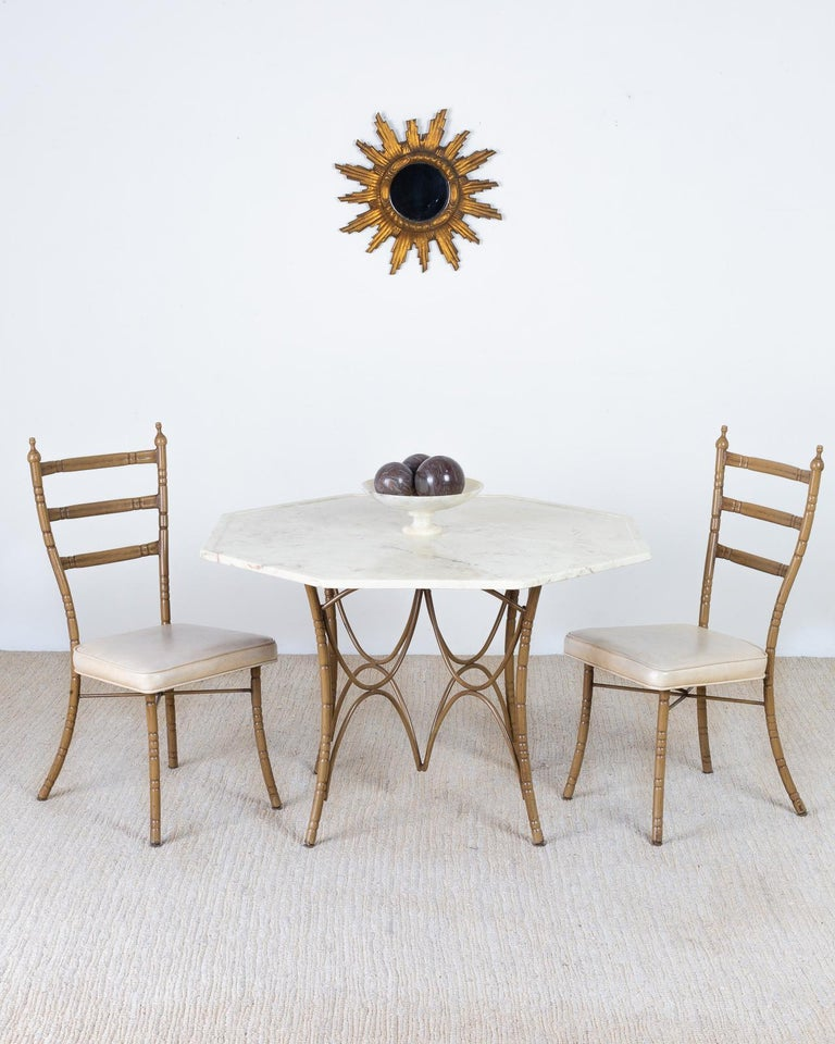 Set of Four Italian Midcentury Faux Bamboo Dining Chairs For Sale 6