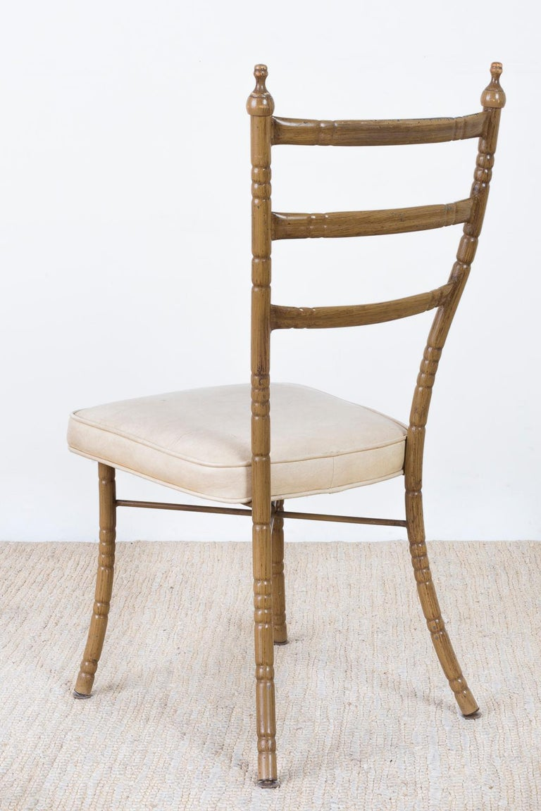 Set of Four Italian Midcentury Faux Bamboo Dining Chairs For Sale 7