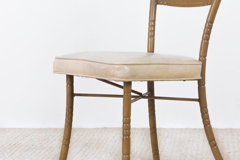 Set of Four Italian Midcentury Faux Bamboo Dining Chairs For Sale 11