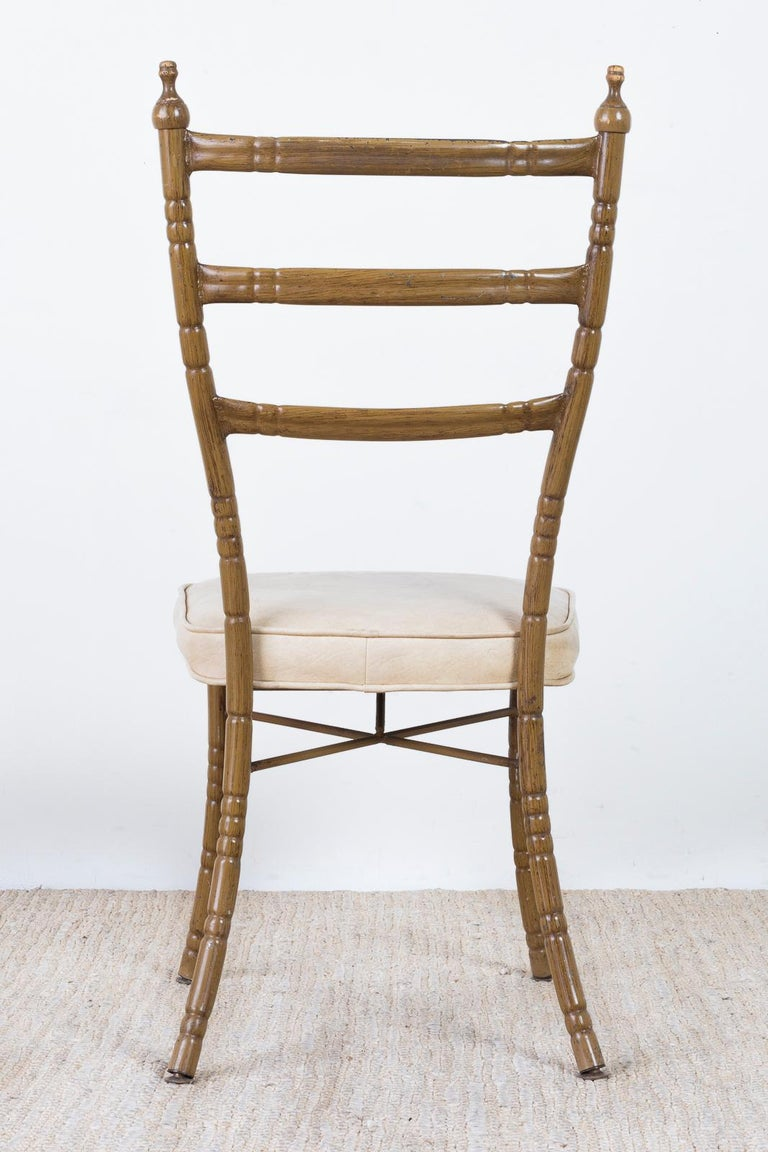 Set of Four Italian Midcentury Faux Bamboo Dining Chairs For Sale 14