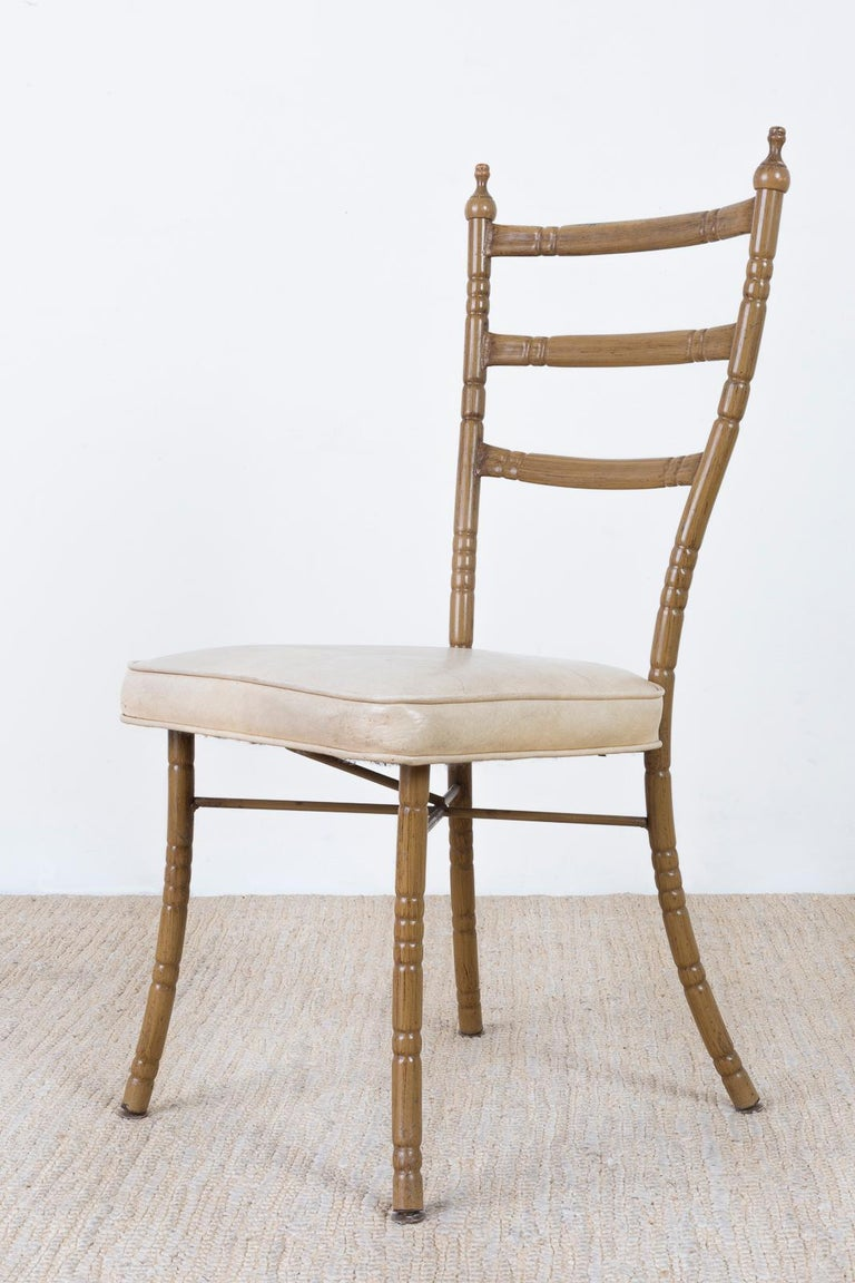 Mid-Century Modern Set of Four Italian Midcentury Faux Bamboo Dining Chairs For Sale