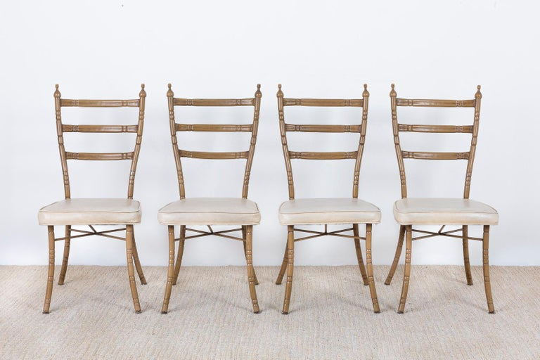 Set of Four Italian Midcentury Faux Bamboo Dining Chairs In Good Condition For Sale In Rio Vista, CA