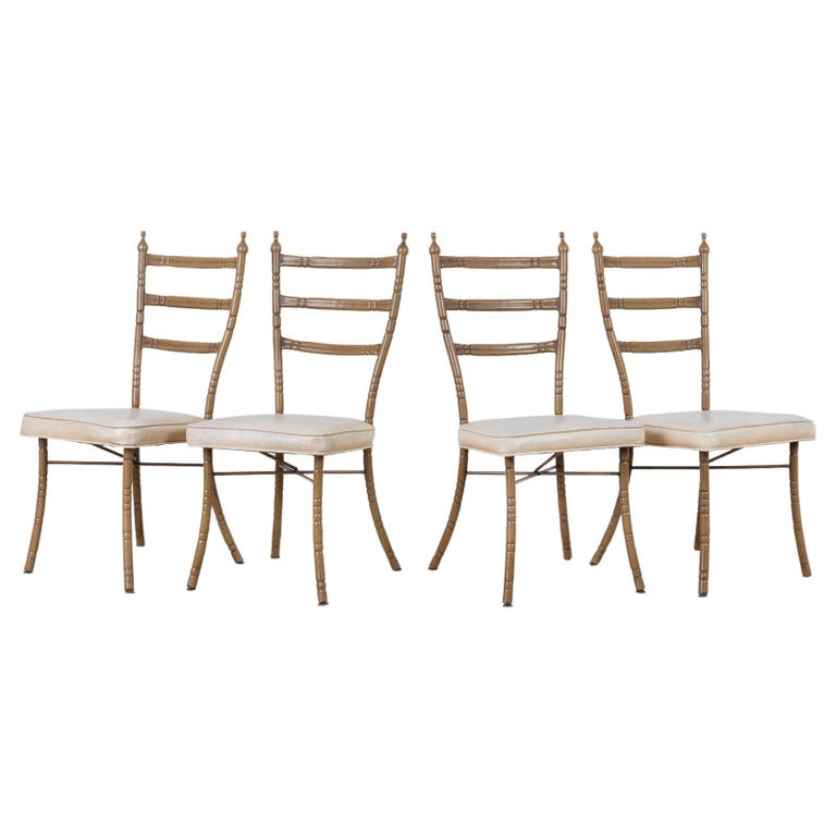 Set of Four Italian Midcentury Faux Bamboo Dining Chairs For Sale