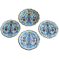 Set of Four Italian Molded Deruta Majolica Dishes, 20th Century