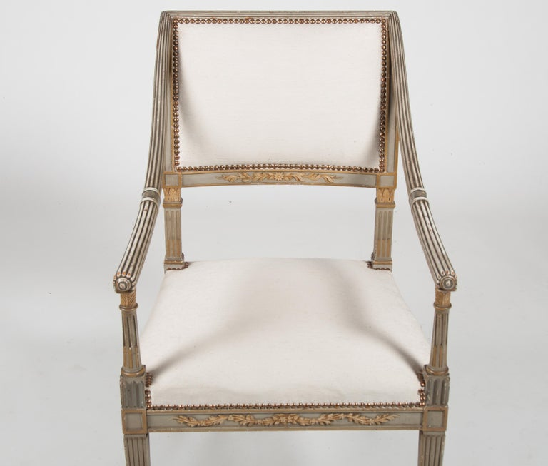 Set of Four Italian Neoclassical Painted Fauteuils/ Armchairs, Late 19th Century For Sale 9