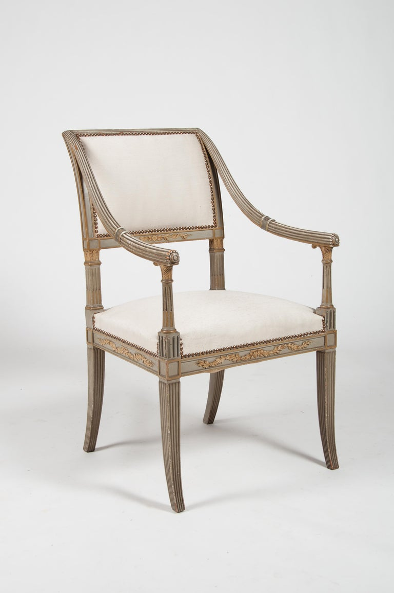 Linen Set of Four Italian Neoclassical Painted Fauteuils/ Armchairs, Late 19th Century For Sale