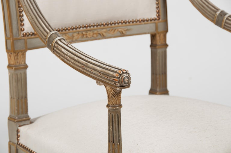 Set of Four Italian Neoclassical Painted Fauteuils/ Armchairs, Late 19th Century For Sale 2