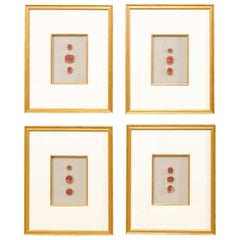 Set of Four Italian Neoclassical Red Intaglios Mounted in Custom Gold Frames