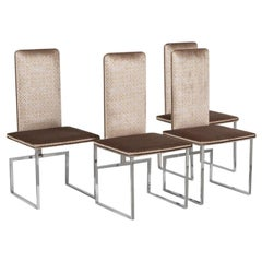 Set of Four Italian Nickel Framed Dining Chairs 1980s