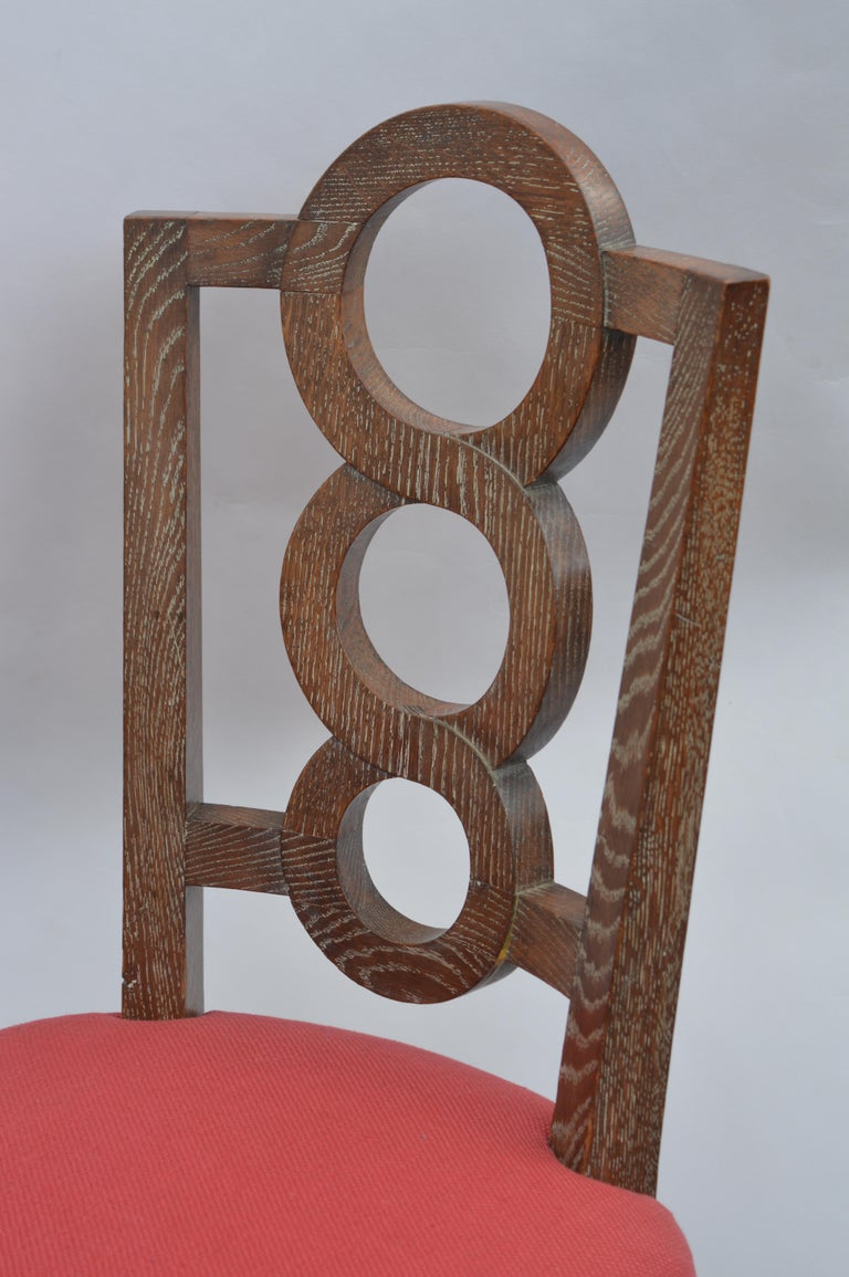 Set of Four Italian Oak Chairs For Sale 1