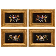 Set of Four Italian Pietra Dura and Mecca Decorative Florentine Wall Plaques