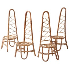 Set of Four Italian Rattan Chairs, 1950s