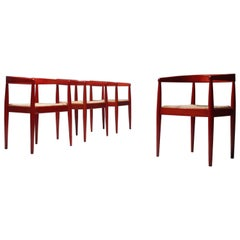 Set of Four Italian Red Glazed Dining Chairs with Rush Seat, 1960s