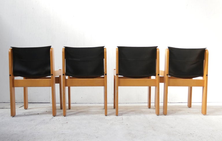 Set of Four Italian Saddle Leather Chairs by Ibisco, circa 1969 For Sale 5