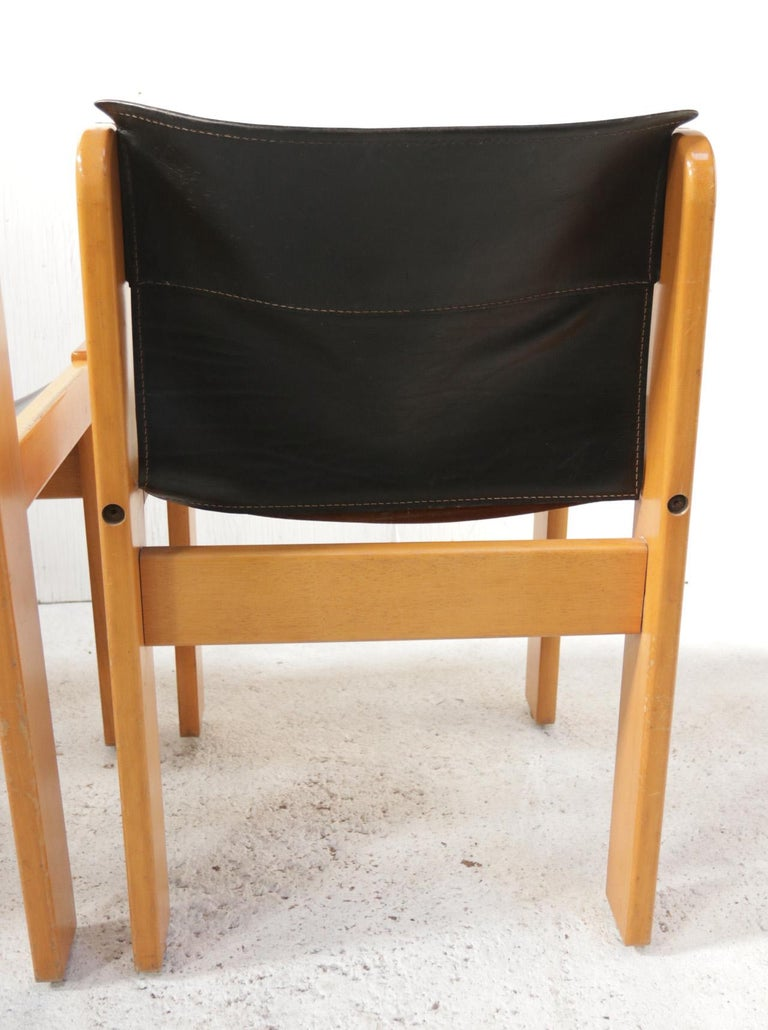 Set of Four Italian Saddle Leather Chairs by Ibisco, circa 1969 For Sale 6