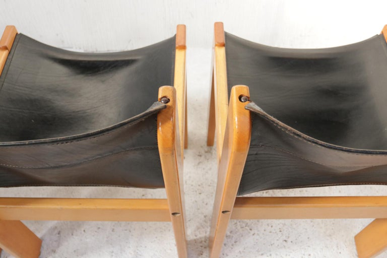 Set of Four Italian Saddle Leather Chairs by Ibisco, circa 1969 For Sale 7
