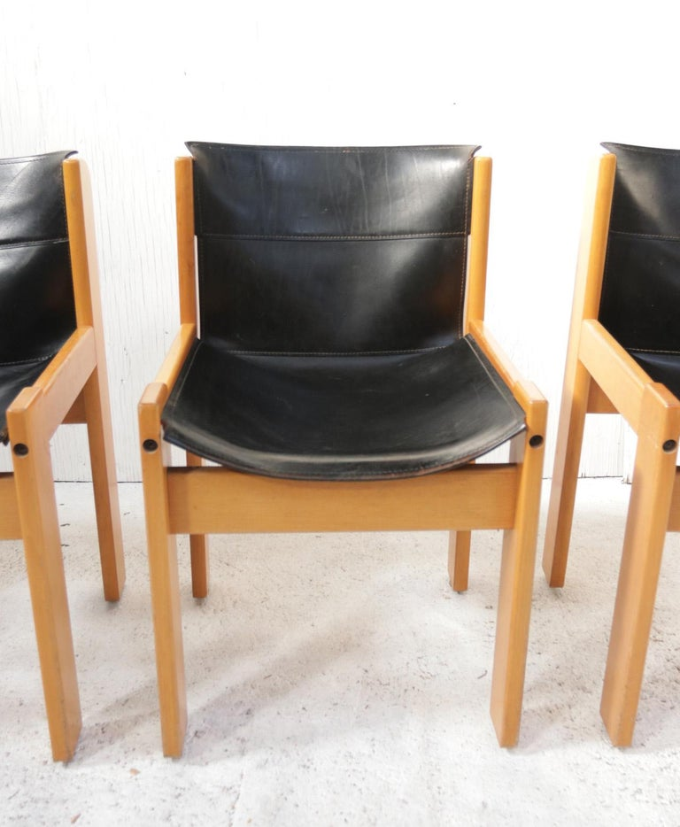 Set of four Italiansaddle leather chairs by Ibisco made circa 1969. These chairs can be completely taken apart for transportation if you wish.