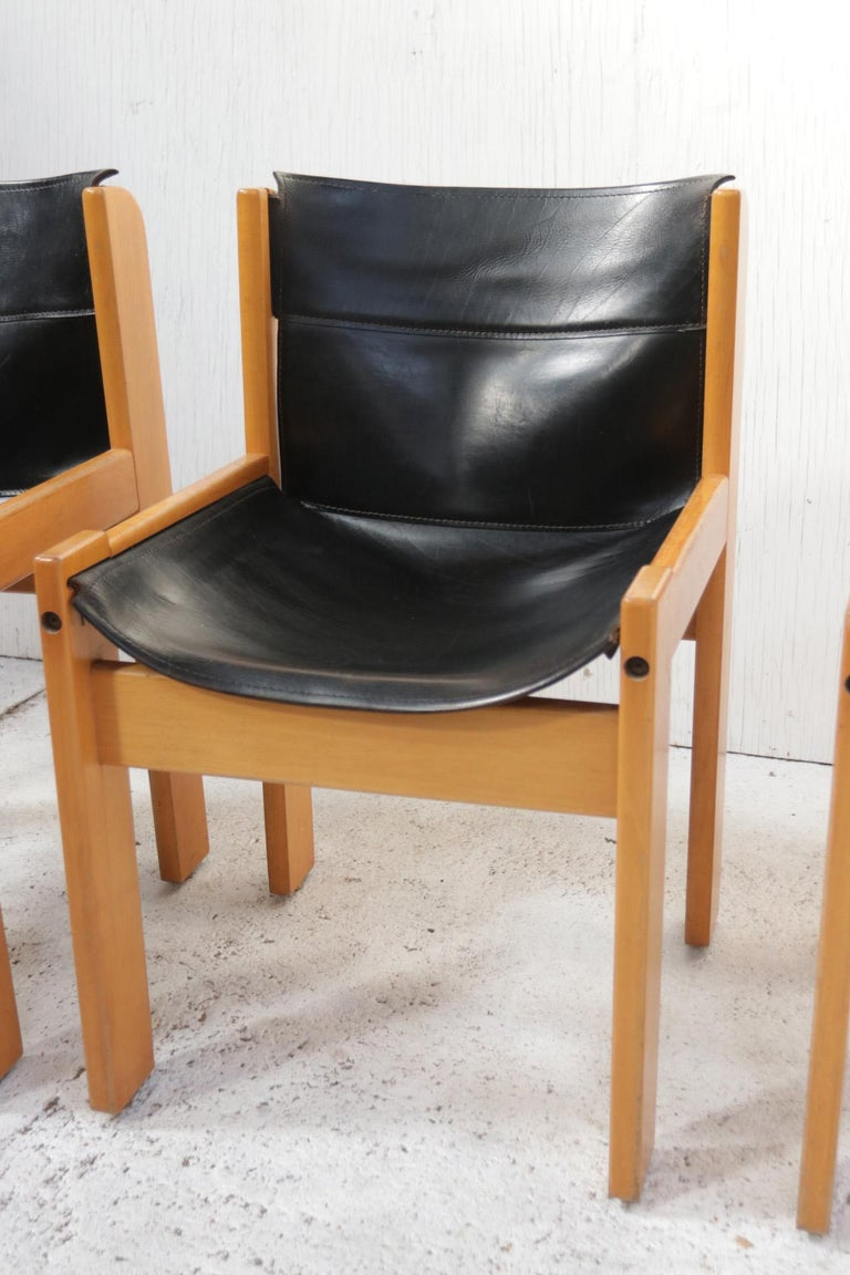 Mid-Century Modern Set of Four Italian Saddle Leather Chairs by Ibisco, circa 1969 For Sale