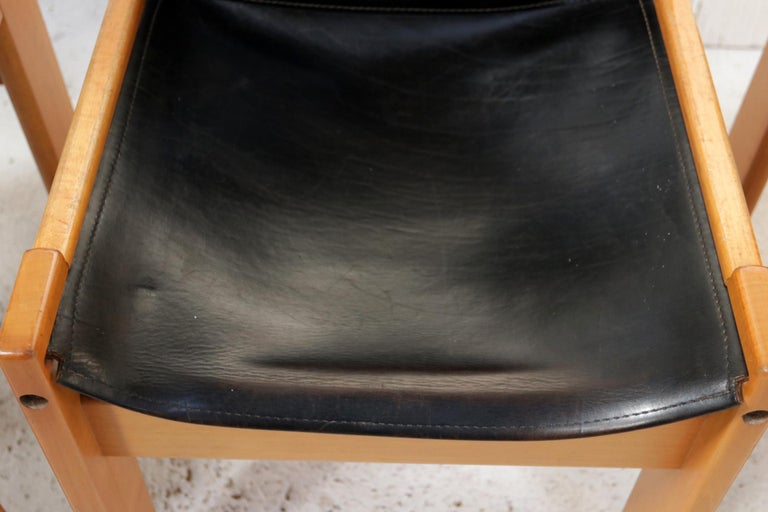 Mid-20th Century Set of Four Italian Saddle Leather Chairs by Ibisco, circa 1969 For Sale