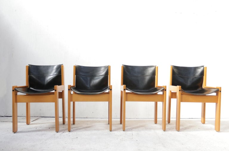 Set of Four Italian Saddle Leather Chairs by Ibisco, circa 1969 For Sale 1