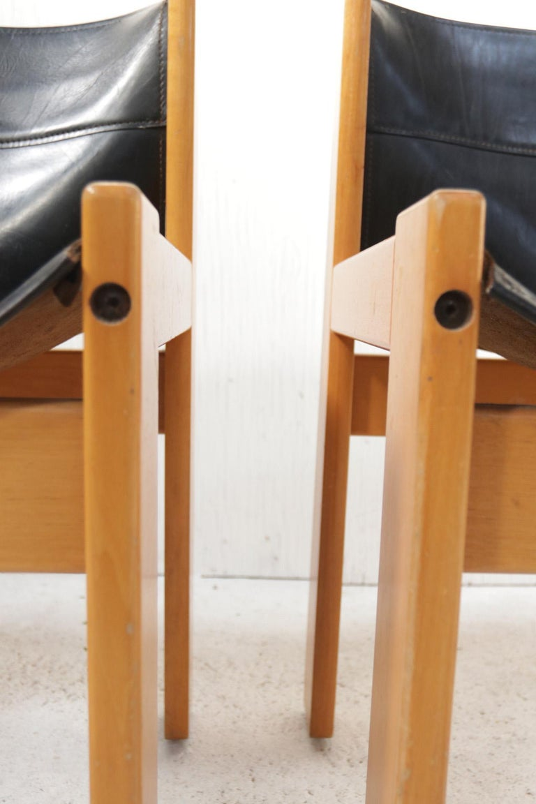 Set of Four Italian Saddle Leather Chairs by Ibisco, circa 1969 For Sale 2