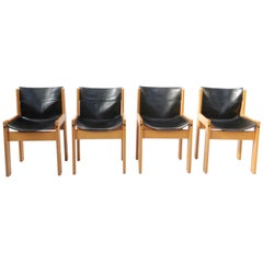 Set of Four Italian Saddle Leather Chairs by Ibisco, circa 1969