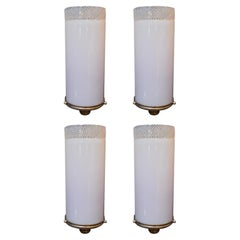 Set of Four Italian Sconces w/ Pink Murano Glass, Attributed to Venini C 1932