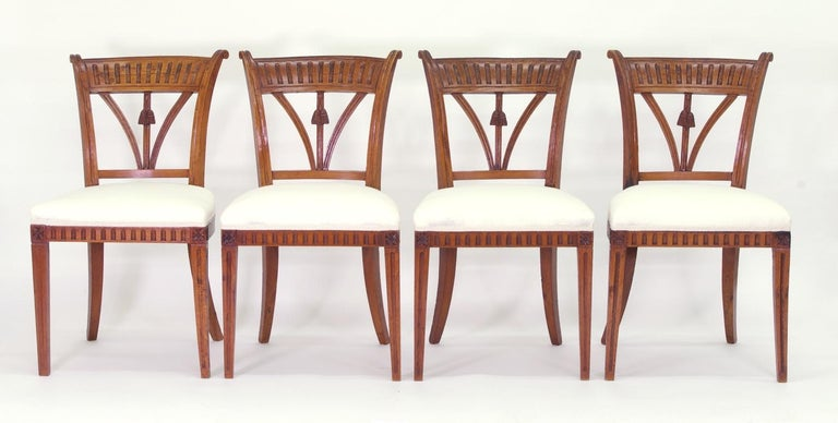 Set of Four Italian Side Chairs, circa 1800 For Sale 5