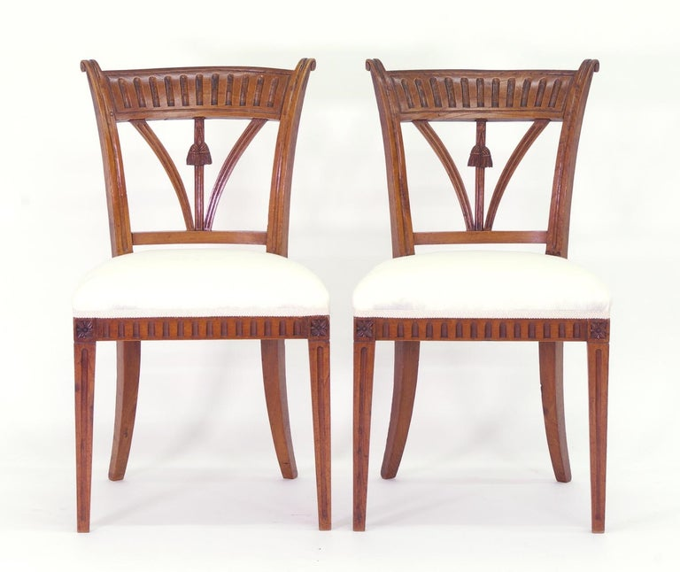 Neoclassical Set of Four Italian Side Chairs, circa 1800 For Sale
