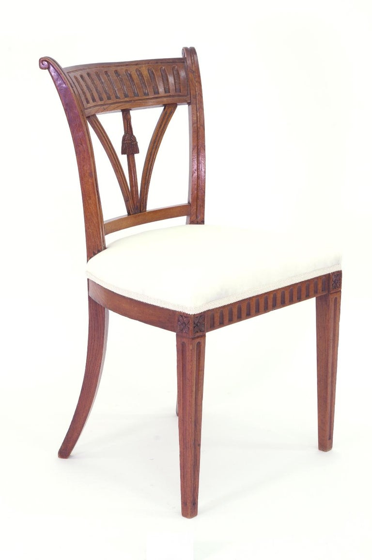 Wood Set of Four Italian Side Chairs, circa 1800 For Sale