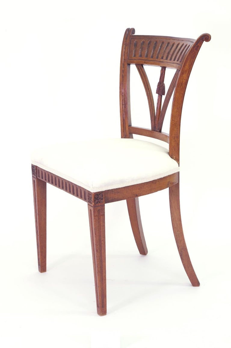 Set of Four Italian Side Chairs, circa 1800 For Sale 1