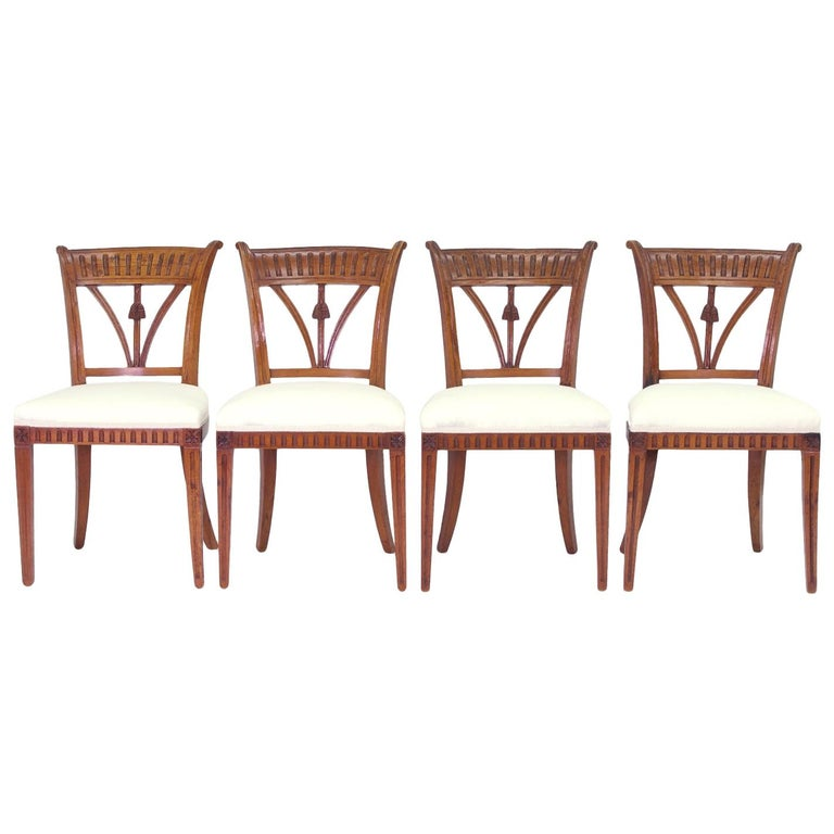 Set of Four Italian Side Chairs, circa 1800 For Sale