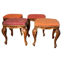 Set of Four Italian Stools Faux Grained