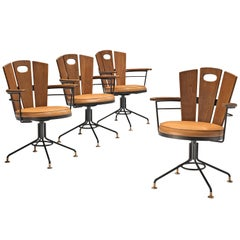 Set of Four Italian Swivel Armchairs in Oak and Metal with Leather Upholstery