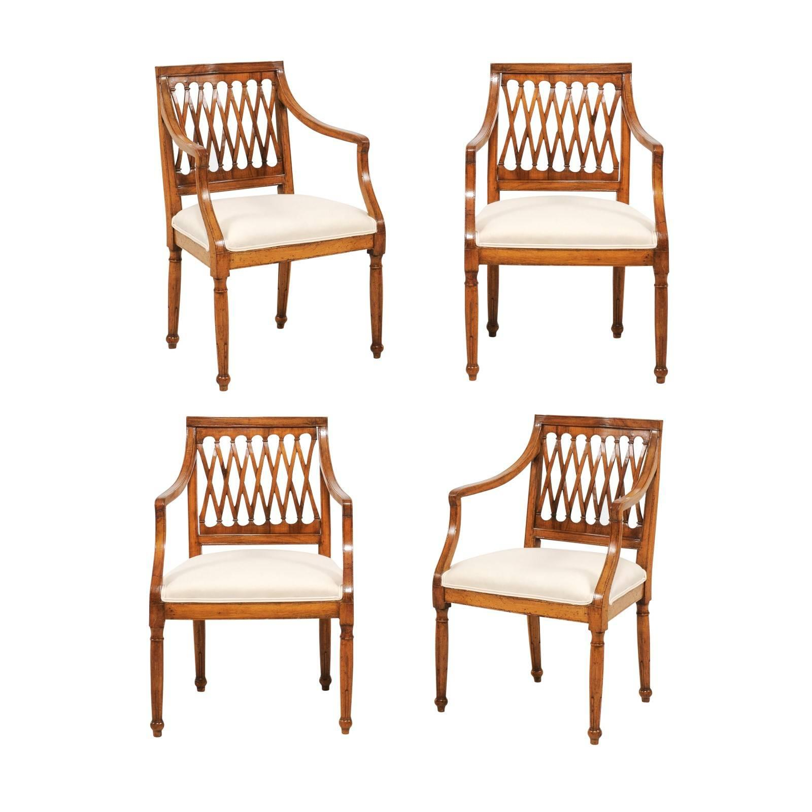 Set of Four Italian Vintage Upholstered Chairs with Latticed Backs, circa 1930