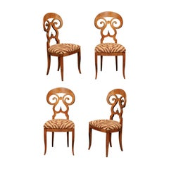 Set of Four Italian Walnut Dining Room Side Chairs with Animal Print Upholstery