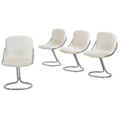 Set of Four Italian White Chrome Cantilever Dining Chairs, 1970