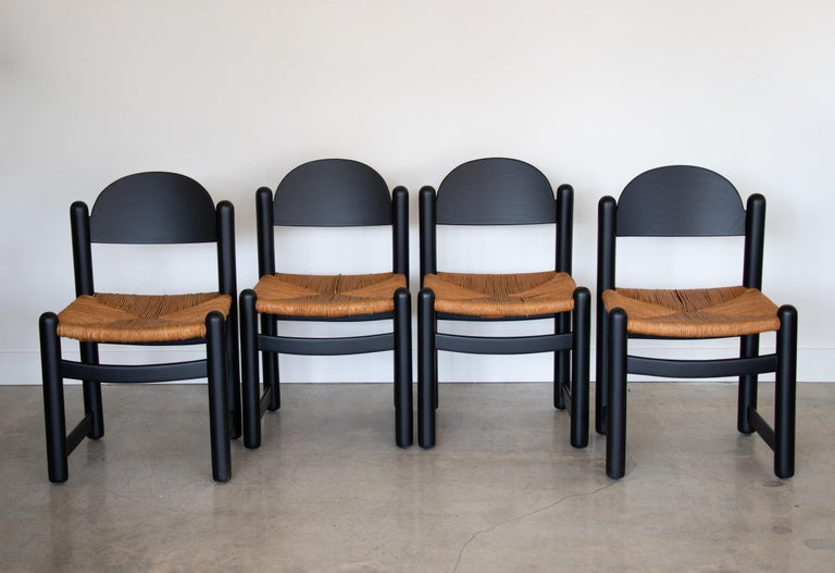 Set of Four Italian Wood and Rope Dining Chairs For Sale 6