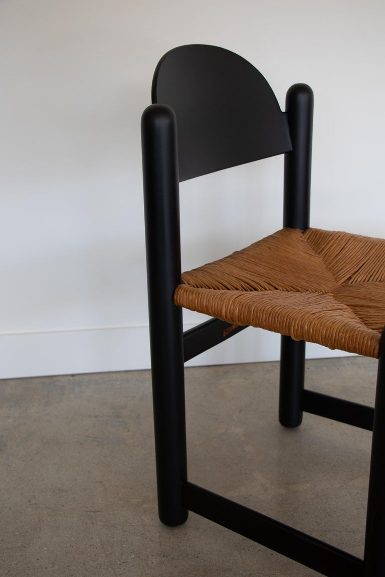 Set of Four Italian Wood and Rope Dining Chairs In Good Condition For Sale In Los Angeles, CA