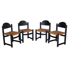 Set of Four Italian Wood and Rope Dining Chairs