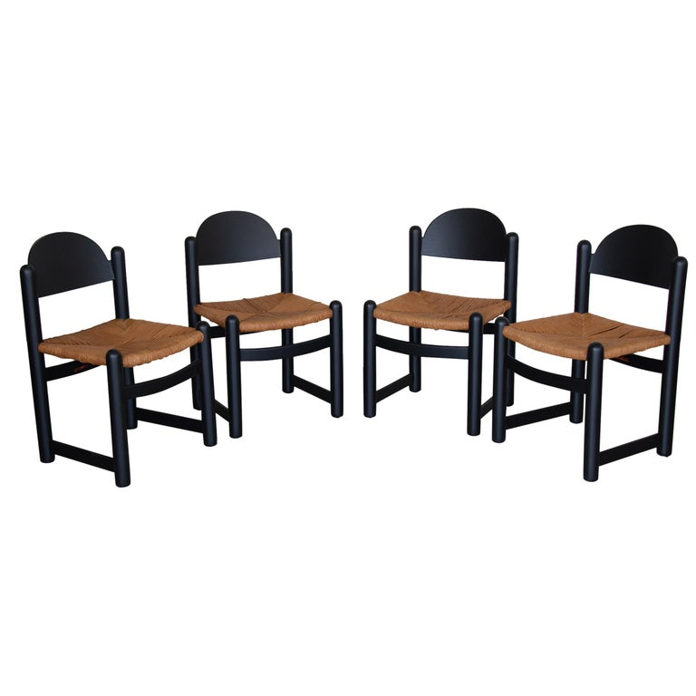 Set of Four Italian Wood and Rope Dining Chairs For Sale