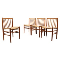 Set of Four J80 Dining Chairs by Jorgen Baekmark for FDM Møbler in Oak Papercord