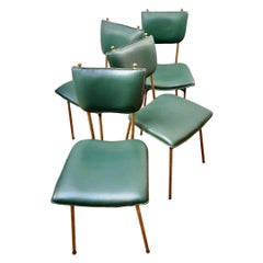 Set of Four Jacques Adnet Brass and Leather Chairs