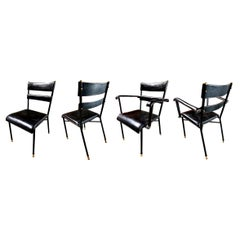 Set of Four Jacques Adnet Leather Chairs