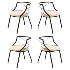 Set of Four Jansen Brass and Iron Armchairs, France, 1950's