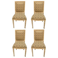 Set of Four Jansen Louis XVI Style Dining Chairs Parcel-Gilt and Paint Decorated