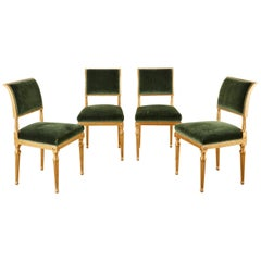 Set of Four Jansen Louis XVI Style Gilt Mohair Dining Chairs