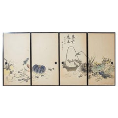 Set of Four Japanese Fusuma Painted Door Panels