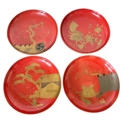 Set of Four Japanese Maki-e Lacquered Pedestal Dishes