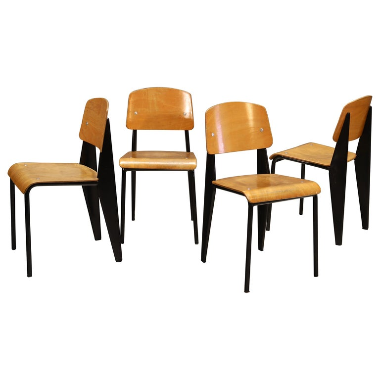 """Set Of Four Jean Prouvé """"Standard"""" Chairs, 1950s For Sale"""